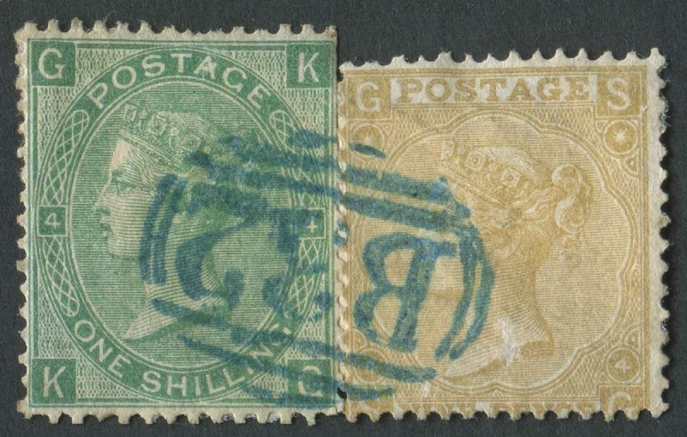 GB used in ARGENTINA Z20/25 9d Straw SG & 1s Green KG, B32 Buenos Aires