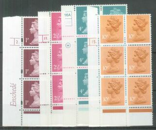 Mint decimal Machin cylinder blocks of 6 or 8, ½p upwards, all different (Ref ES102)