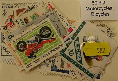 Motorcycles + Bicycles 50 Stamps (582)