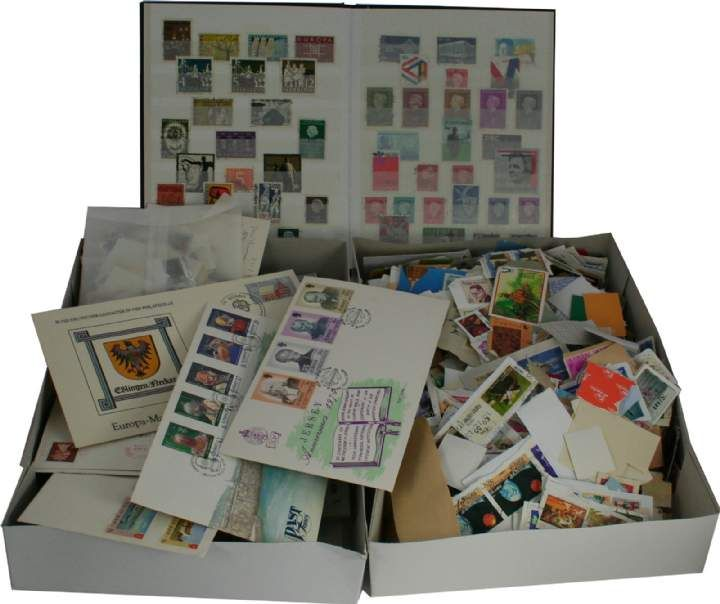 Worldwide stamps for sorting - Two cartons of stamps