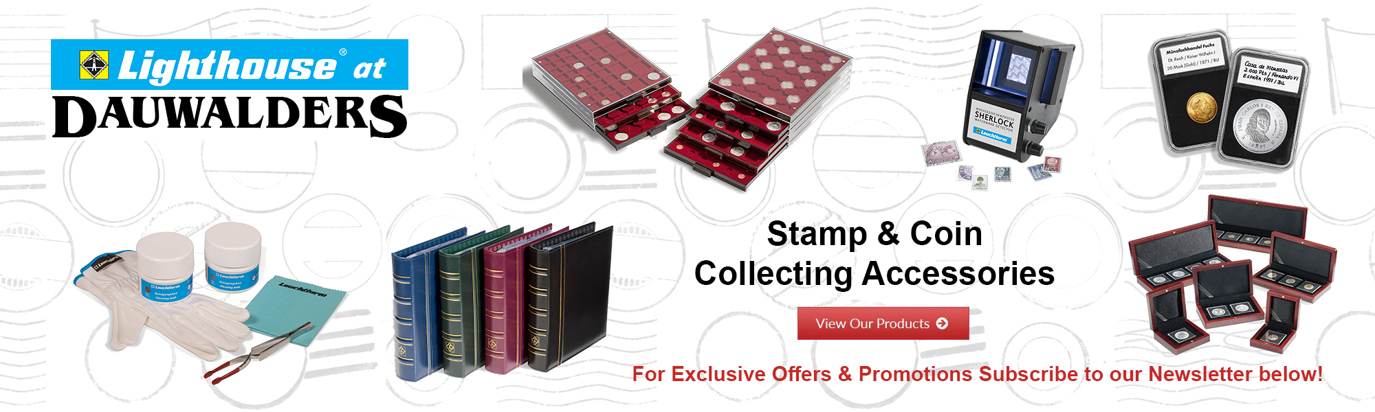 Lighthouse stamp and coin collecting accessories